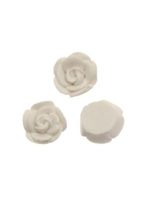 Rosa in pasta di fimo colorata, piatta sotto, da incollo, larga 10 mm., alta 5 mm., colore Bianco gesso
