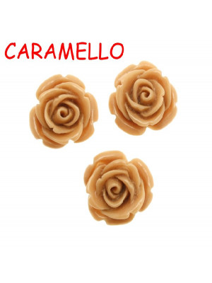 Rosa in resina colorata, piatta sotto, da incollo con foro passante, larga 18 mm., colore Caramello