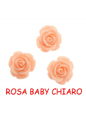 Rosa in resina colorata, piatta sotto, da incollo con foro passante, larga 18 mm., colore Rosa baby chiaro