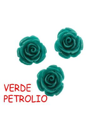 Rosa in resina colorata, piatta sotto, da incollo con foro passante, larga 18 mm., colore Verde petrolio