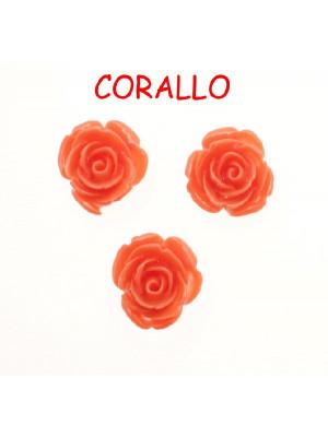 Rosa in resina colorata, piatta sotto, da incollo con foro passante, larga 18 mm., colore Corallo