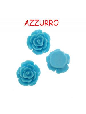 Rosa in resina colorata, piatta sotto, da incollo, larga 20 mm., colore Azzurro