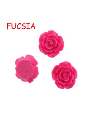 Rosa in resina colorata, piatta sotto, da incollo, larga 20 mm., colore Fucsia
