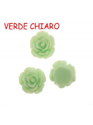 Rosa in resina colorata, piatta sotto, da incollo, larga 20 mm., colore Verde chiaro