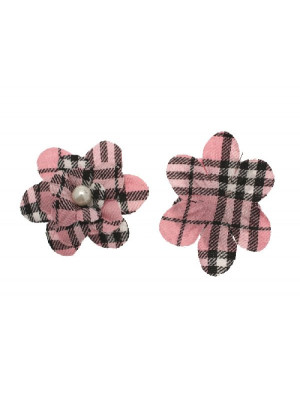 Fiore in stoffa scozzese con perla centrale e anellino sul dietro, 7 cm., sui toni del rosa