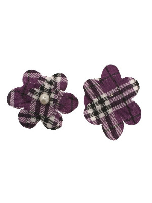Fiore in stoffa scozzese con perla centrale e anellino sul dietro, 7 cm., sui toni del viola