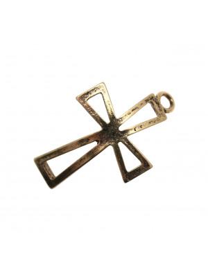 Elemento per bracciale leggermente ricurvo, a forma di croce con strass, 25x50 mm. (alta 5 mm.)