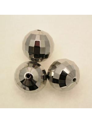 Distanziatore a palla sfaccettata in resina colore Argentato Rodio