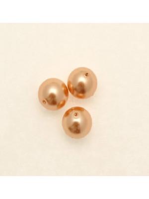 Perla in vetro effetto perlato 8 mm. color Arancione