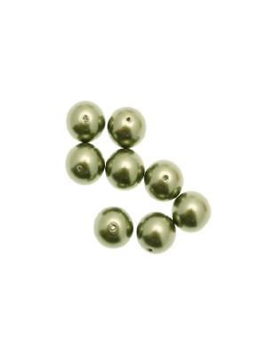 Perla in vetro effetto perlato 10 mm. color Verde oliva