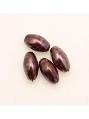 Perla in vetro effetto perlato MACCHIATE, oliva liscia 14x8 mm., color Melanzana e melanzana scuro