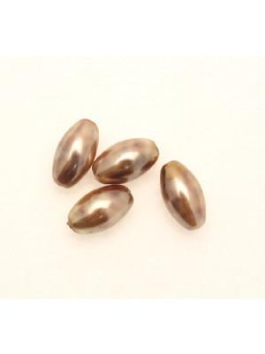 Perla in vetro effetto perlato MACCHIATE, oliva liscia 14x8 mm., color Nocciola e marrone scuro