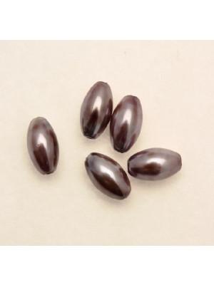 Perla in vetro effetto perlato MACCHIATE, oliva liscia 14x8 mm., color Viola grigio con ametista
