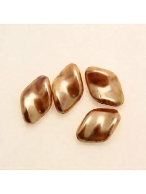Perla in vetro effetto perlato MACCHIATE, rombo elica 19x13 mm., color Gold con marrone chiaro