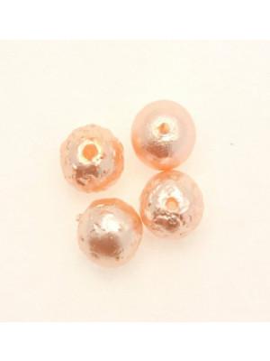 Perla in vetro effetto perlato MARTELLATA, tondo 12 mm., color Salmone