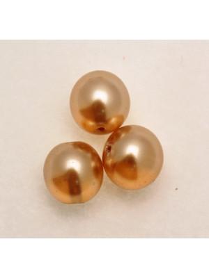 Perla in vetro effetto perlato SEMI-TRASPARENTE, tondo 14 mm., color Colorado