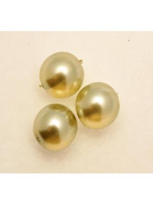 Perla in vetro effetto perlato SEMI-TRASPARENTE, tondo 14 mm., color Verde chiaro