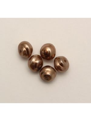Perla in vetro effetto perlato serie pregiata, conchiglia 8 mm., color Bronzo scuro