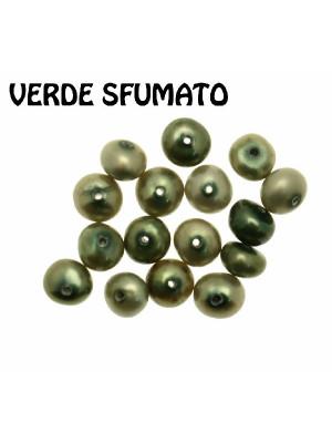 Perla di fiume, cipolla piatta con foro centrale, 4x3 mm. colore Verde sfumato
