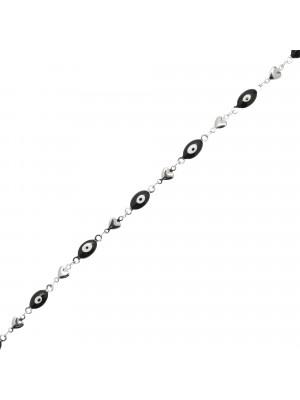 Catena alternata, in acciaio, con elementi ovali smaltati neri a forma di occhio alternata ad elementi a forma di cuore