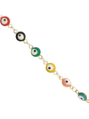 Catena alternata, in acciaio, con elementi tondi smaltati (multicolor) a forma di occhio 6 mm. base Oro Lucido