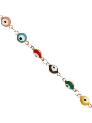 Catena alternata, in acciaio, con elementi tondi smaltati (multicolor) a forma di occhio 6 mm. base Oro Rosa