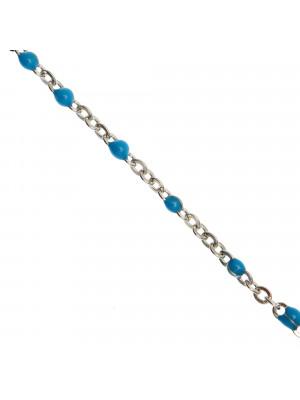 Catena ovalina, in Acciaio, con palline smaltate, base in metallo colore Argentato Rodio, colore smalto Azzurro Scuro