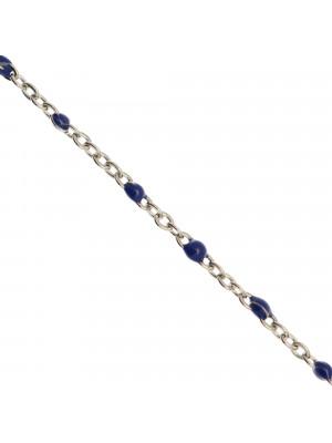 Catena ovalina, in Acciaio, con palline smaltate, base in metallo colore Argentato Rodio, colore smalto Blu
