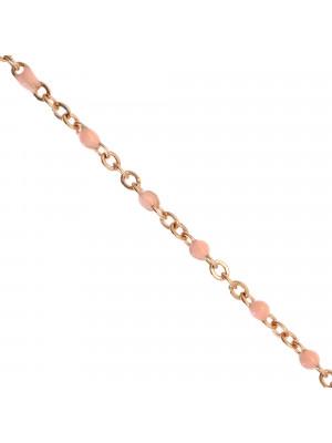 Catena ovalina, in Acciaio, con palline smaltate, base in metallo colore Oro Rosa, colore smalto Rosa Baby