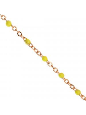 Catena ovalina, in Acciaio, con palline smaltate, base in metallo colore Oro Rosa, colore smalto Giallo