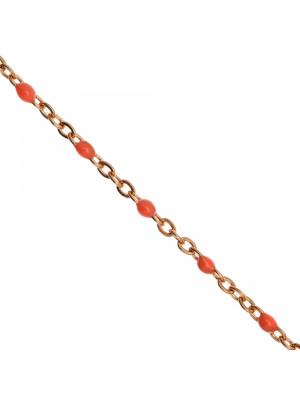 Catena ovalina, in Acciaio, con palline smaltate, base in metallo colore Oro Rosa, colore smalto Rosa Pesca