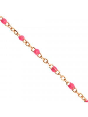 Catena ovalina, in Acciaio, con palline smaltate, base in metallo colore Oro Rosa, colore smalto Fucsia