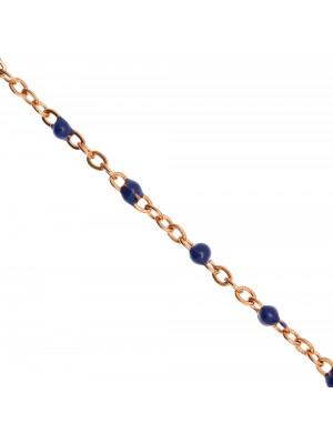 Catena ovalina, in Acciaio, con palline smaltate, base in metallo colore Oro Rosa, colore smalto Blu