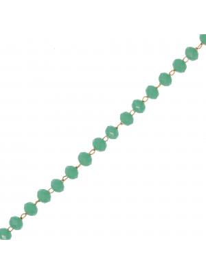 Catena a rosario, in acciaio, con rondelle Carta da Zucchero Scuro, base Argento Rodio