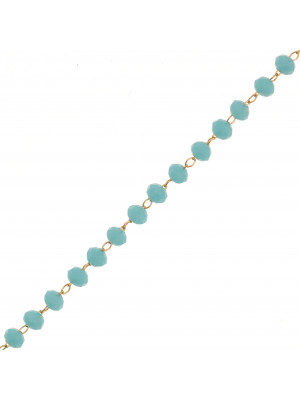 Catena a rosario, in acciaio, con rondelle Azzurro, base Oro Lucido