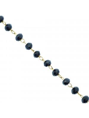 Catena a rosario, in acciaio, con rondelle Antracite Listrato, base Oro Lucido
