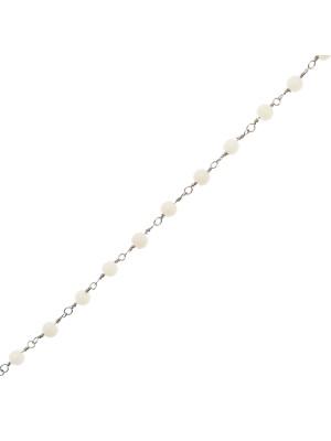 Catena a rosario, in acciaio, con palline Bianche, base Argentato Rodio