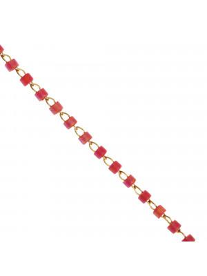 Catena a rosario, in acciaio, con conteria in Trikat Fucsia scuro sfumato, base Oro Lucido
