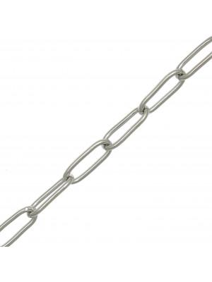 Catena rettangolare sottile, in Acciaio, 11x4 mm., spessore anello 1 mm.