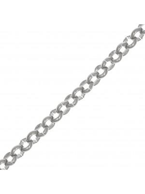 Catena tonda rollò, in acciaio, diametro dell'anello 4,5 mm.