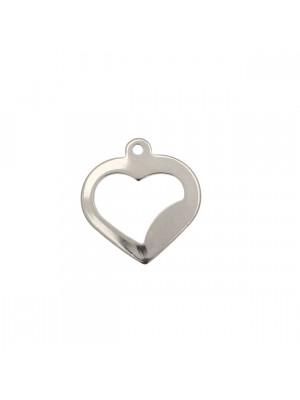 Ciondolo, in Acciaio, a forma di cuore piatto, forato, 18x18 mm.