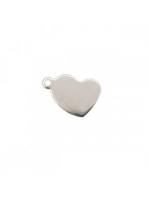 Ciondolo, in Acciaio, a forma di cuore piatto, anello laterale, 12x17 mm.