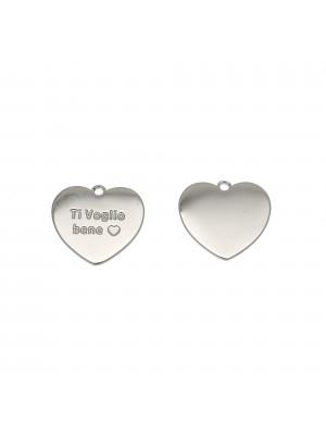 """Ciondolo, in Acciaio, a forma di cuore con scritta """"Ti voglio bene"""", 14x13 mm."""