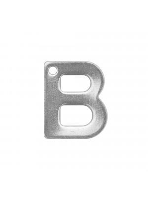 """Ciondolo a forma di lettera """"B"""", 11x9 mm., in Acciaio"""