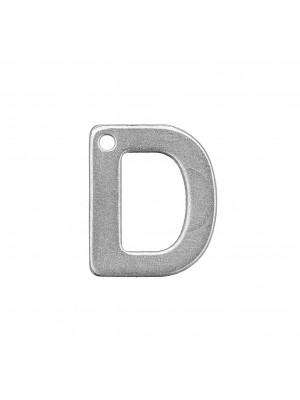 """Ciondolo a forma di lettera """"D"""", 11x9 mm., in Acciaio"""