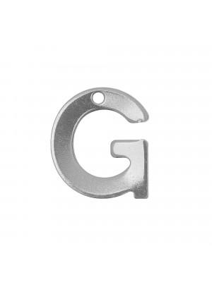 """Ciondolo a forma di lettera """"G"""", 11x10 mm., in Acciaio"""