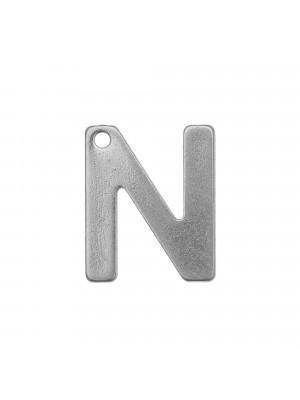 """Ciondolo a forma di lettera """"N"""", 11x9 mm., in Acciaio"""