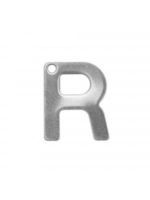 """Ciondolo a forma di lettera """"R"""", 11x9 mm., in Acciaio"""