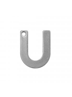 """Ciondolo a forma di lettera """"U"""", 11x9 mm., in Acciaio"""