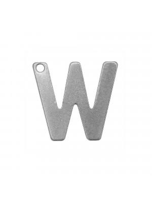 """Ciondolo a forma di lettera """"W"""", 11x12 mm., in Acciaio"""